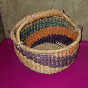 Colorful woven basket with handle